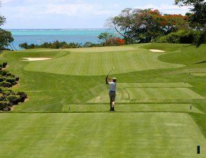Golfeur tapant un coup au départ