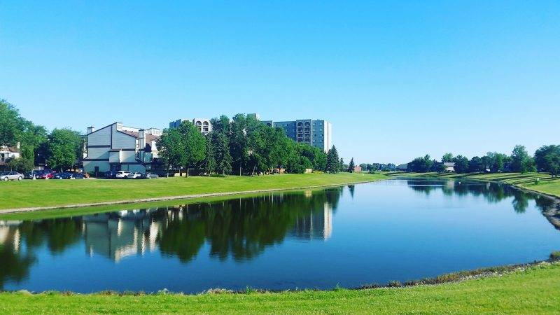 body-of-water-surrounded-by-grass-near-buildings-234248